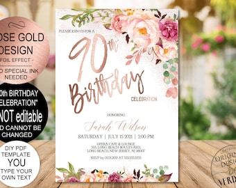 DIY 90th Birthday Invitation Template Blush Rose Gold Floral Celebration For Women Printable PDF Instant Download