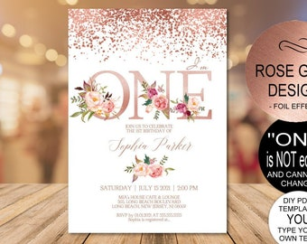 Rose Gold 1st Birthday Invitation Blush Floral First Party Invitebaby One DIY PDF Instant Download
