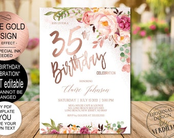 DIY 35th Birthday Invitation Template Blush Rose Gold Floral Celebration For Women Printable PDF Instant Download