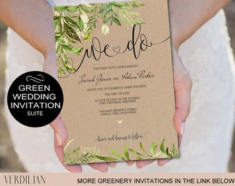 We Do Wedding Invitation Suite Template - Green Leaves Kraft Rustic Wedding Invitation-Pdf-Download Instantly | VRD150KWY