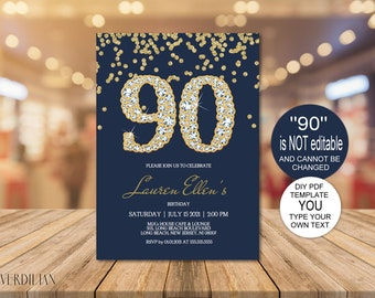 90th Birthday Invitation Printable Template Editable Party For Women DIY PDF Instant Download