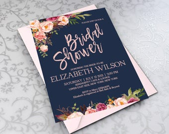 Navy bridal shower etsy blush navy bridal shower invitation floral bridal shower invite navy gold wedding invite printable diy pdf instant downloadvrd161bs filmwisefo