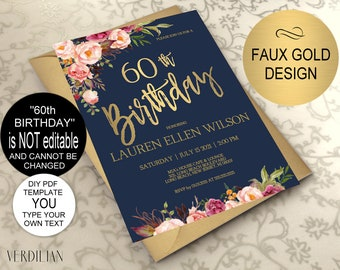 60th Birthday Invitation Navy Blush Gold Floral Party For Women DIY Printable PDF Instant Download