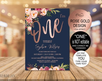 Navy Rose Gold 1st Birthday Invitation Floral First Party Invite Baby One DIY PDF Instant Download