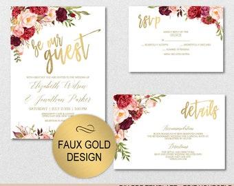 Burgundy Floral Rose Gold Wedding Invitation Template Set Etsy