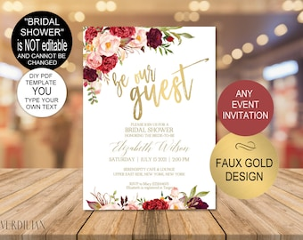 any event gold invitation bridal shower invitationbe our guest birthday invitationbaby shower printablediy pdf instant downloadvrd137dv