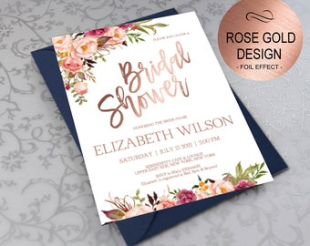 rose gold bridal shower invitation bridal shower invite wedding shower invitations wedding printable diy pdf instant downloadvrd164bsrr