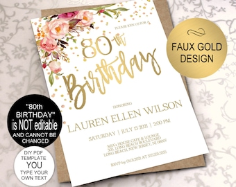 80th Birthday Invitation Blush Gold Floral Party For Women DIY Printable PDF Instant Download