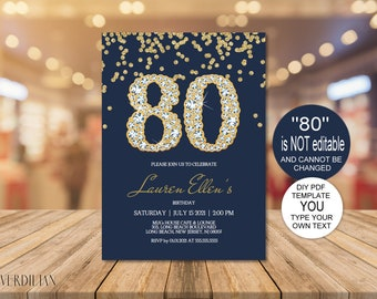 80th Birthday Invitation Printable Template Editable Party For Women DIY PDF Instant Download