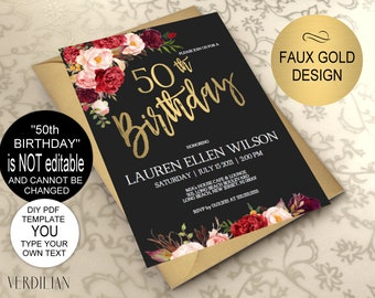 50th Birthday Invitation Burgundy Gold Floral Party For Women DIY Printable PDF Instant Download