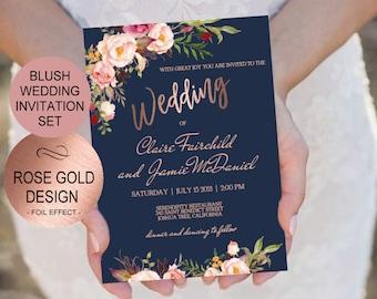 Wedding invitation template etsy navy blush rose gold wedding invitation template set watercolor flowers invite diy printable invitations pdf download instantly vrd158nrf stopboris Images