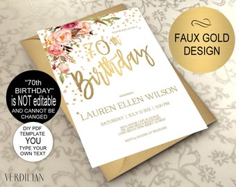 70th Birthday Invitation Blush Gold Floral Party For Women DIY Printable PDF Instant Download