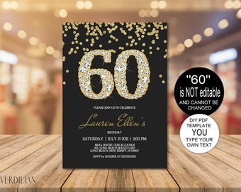 60th Birthday Invitation Printable Template Editable Party For Women DIY PDF Instant Download