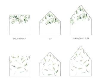Olive Leaves Envelope Liner Template