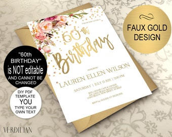 70th Birthday Invitation Blush Gold Floral Birthday Party Etsy