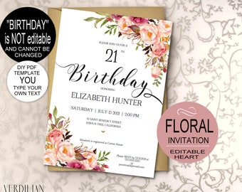 Blush Pink Birthday Invitation Template Rustic Floral Watercolor DIY Printable Party PDF Instant Download