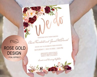 marsala rose gold wedding invitation template set blush etsy