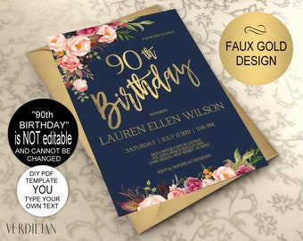 90th Birthday Invitation Navy Blush Gold Floral Party For Women DIY Printable PDF Instant Download