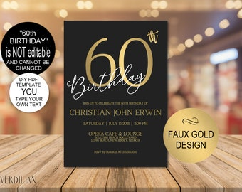 60th Birthday Invitation Party For MenGold WomenDIY Printable PDF Instant Download