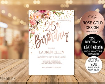 25th Birthday Invitation Blush Rose Gold Party For Women DIY Printable PDF Instant Download