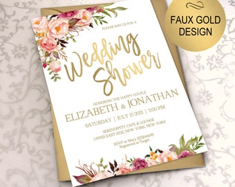 wedding shower invitation blush gold bridal shower invite wedding shower invitations wedding printable diy pdf instant downloadvrd164ws
