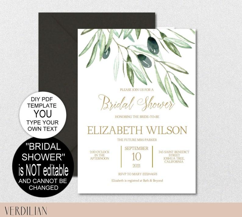 d5ff7d722a6d Olive Branch Bridal Shower Invitation Bridal Shower Invite