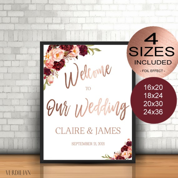 accf58a88163f Marsala Wedding Welcome Sign Template Wedding Reception Greet Guests  Printable Welcome to Our Wedding Poster Board DIY Template| VRD130BWR