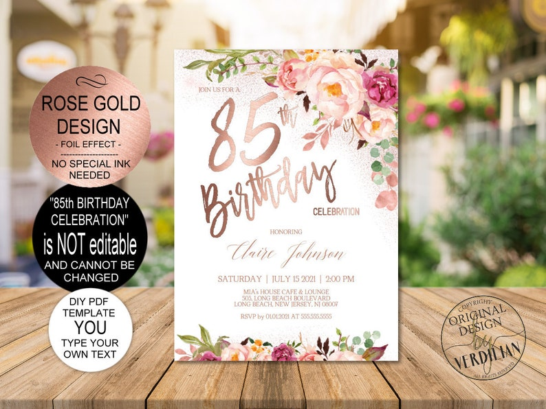 DIY 85th Birthday Invitation Template Blush Rose Gold Floral Celebration For Women Printable PDF Instant Download