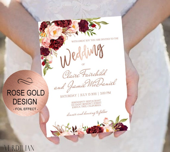 marsala rose gold wedding invitation template set blush etsy