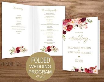 Folded Wedding Program Template, Wedding Program Printable - Floral Burgundy Order of Service-DIY Editable PDF-DOWNLOAD Instantly |VRD137SGF