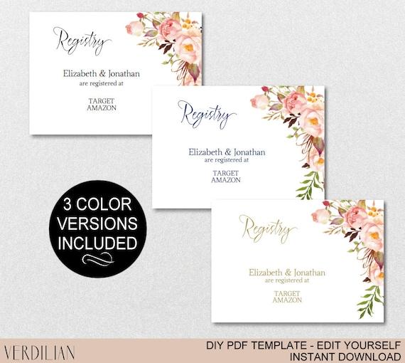 Registry Printable Card Wedding Registry Bridal Shower Etsy