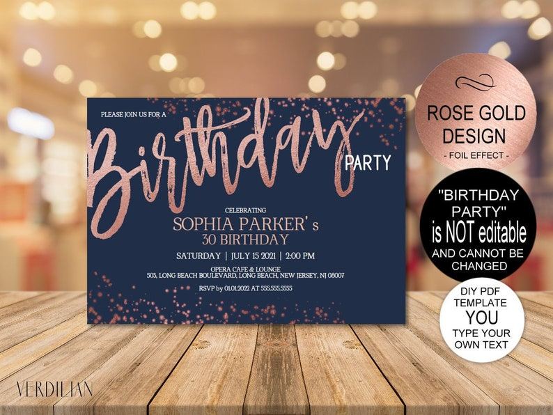 DIY Any Age Birthday Invitation Template Rose Gold Navy For Women MenDIY Printable PDF Instant Download