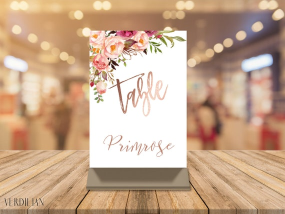 rose gold wedding table name card 5x7 inches table numbers etsy