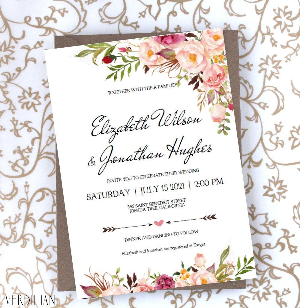 Floral Wedding Invitation Template Blush Rustic Watercolor