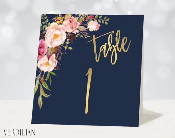 BLUSH PINK TABLE NUMBER 1-12 WEDDING RECEPTION  WHITE CARD BLUSH PINK FLORAL
