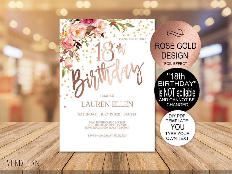 DIY 18th Birthday Invitation Template Blush Rose Gold