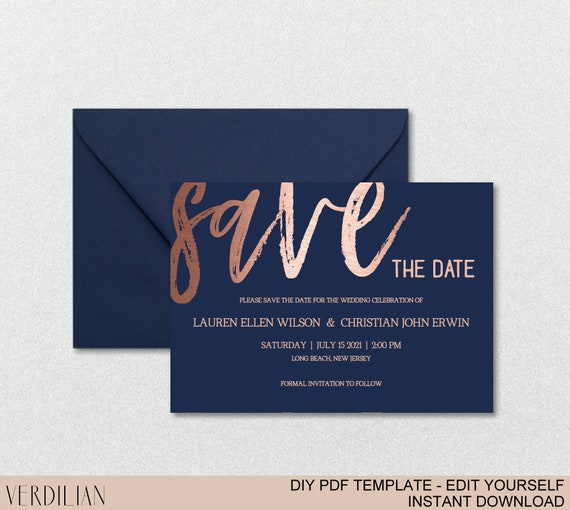 save the date template navy rose gold editable save the date etsy