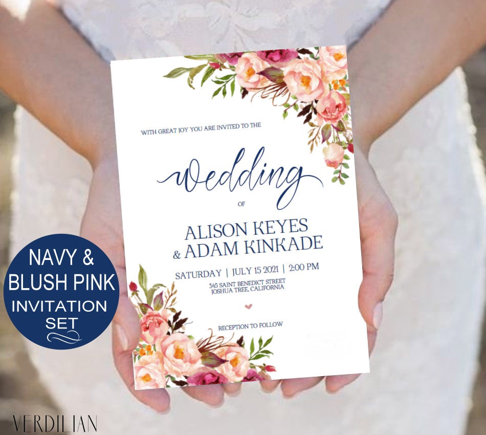 Navy and Blush Wedding Invitation Template Set Watercolor | Etsy