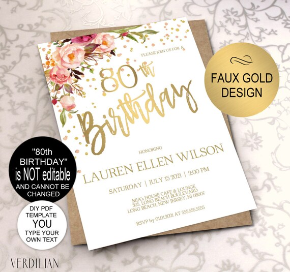 80th Birthday Invitation Blush Gold Floral Party