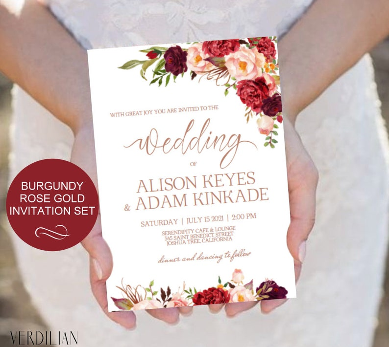 Burgundy Gold Geometric Wedding Invitation Suite  Blush Floral Wedding Invitation  Editable Template  Printable Invitation  Download