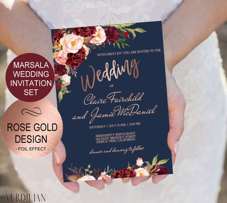 Navy Marsala Rose Gold Wedding Invitation Template Set Watercolor Flowers Invite DIY Printable Invitations PDF Download Instantly
