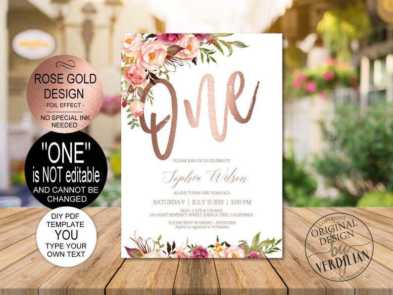 DIY Rose Gold 1st Birthday Invitation Blush Floral First
