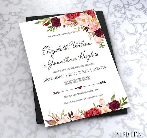 Homemade Wedding Invitation Template: Printable Wedding Invitation Template. Floral Burgundy