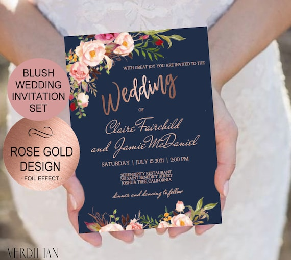 Navy Blush Rose Gold Wedding Invitation Template Set