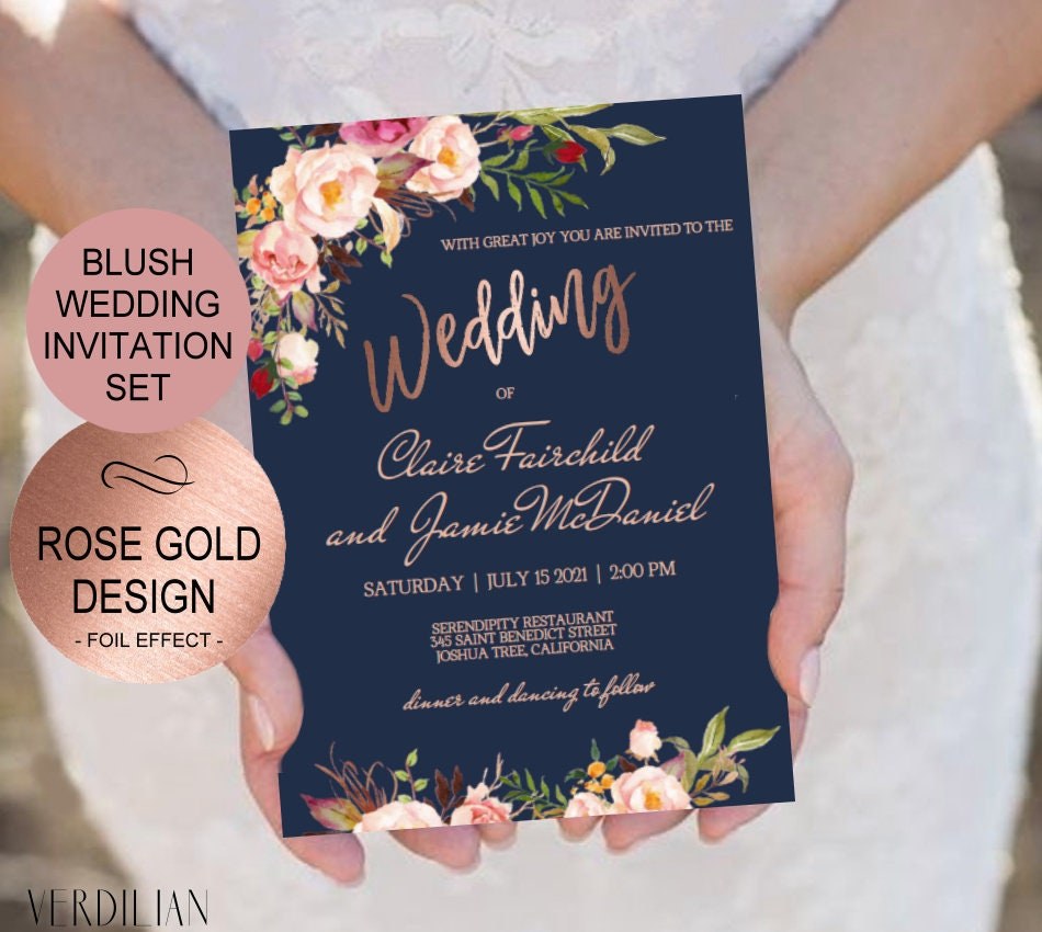 Wedding Invitations Rose: Navy Blush Rose Gold Wedding Invitation Template Set