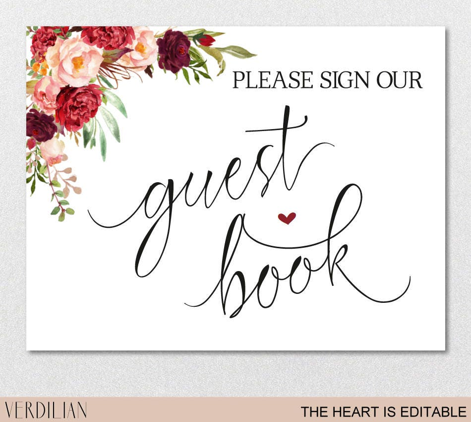 It's just a picture of Handy Please Sign Our Guestbook Free Printable