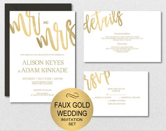 Gold Wedding Invitation Template, Mr and Mrs Wedding Invitation Suite, Wedding Invite Set,Wedding Template,DIY PDF Instant Download|VRD110AB