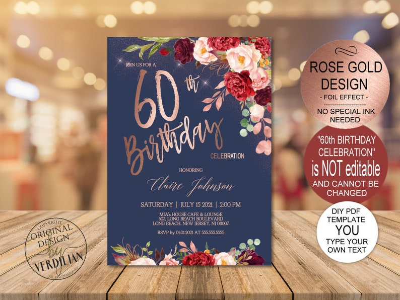 DIY Burgundy Rose Gold 60th Birthday Invitation Template Navy Party Invite For Women Printable PDF Instant Download