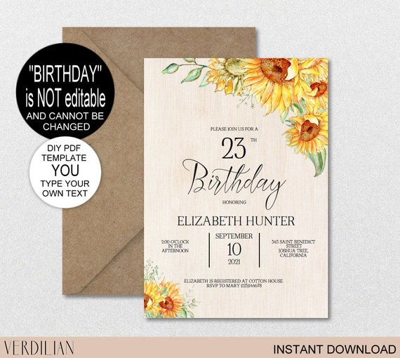 Any Age Sunflower Birthday Invitation Template Rustic