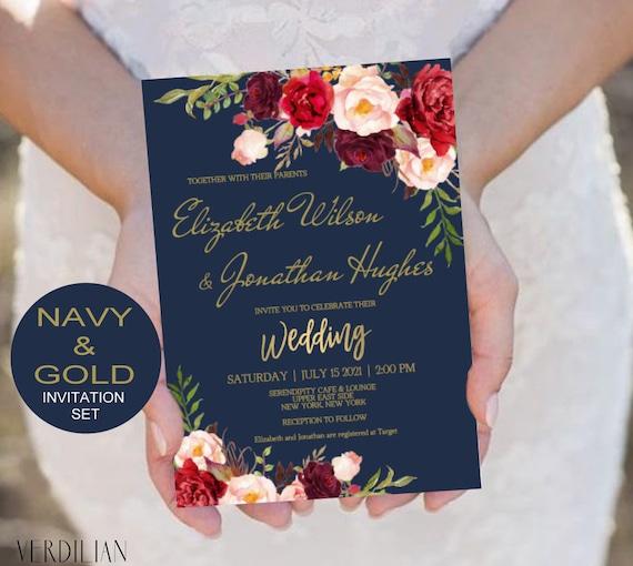 Navy Burgundy Marsala Gold Wedding Invitation Template Set Etsy